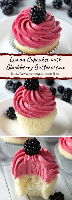Cupcakes with Blackberry Buttercream Lemon Cupcakes with Blackberry Buttercream - Youll impress everyone with a batch of these beautiful cupcakes!Lemon Cupcakes with Blackberry Buttercream - Youll impress everyone with a batch of these beautiful cupcakes! No Bake Desserts, Just Desserts, Delicious Desserts, Dessert Recipes, Dinner Recipes, Baking Desserts, Summer Cupcake Recipes, Snacks Recipes, Recipies
