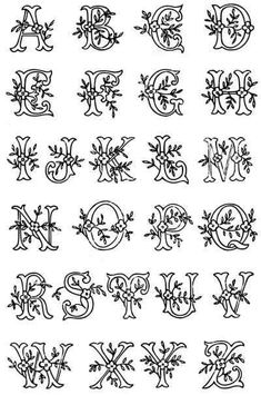 Vintage Embroidery Patterns vintage monogram initial lettering - Monogram lettering alphabet A - Z embroidery transfer pattern in a leafy design - free Embroidery Alphabet, Embroidery Monogram, Embroidery Patterns Free, Vintage Embroidery, Embroidery Designs, Machine Embroidery, Embroidery Sampler, Embroidery Thread, Modern Embroidery