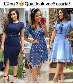 """2,298 curtidas, 103 comentários - @crente_com_estilo no Instagram: """"1, 2 ou 3? Qual você usaria? 🤩❤️ . . ✨ Inspiração ✨ . . 🔊 DIVULGUE SUA LOJA AQUI 💰 . 😉 Gostou?…"""" Sabrina Sato, I Love You Quotes, Looks Jeans, The Dress, Infj, Wrap Dress, Short Sleeve Dresses, Shirt Dress, 1"""