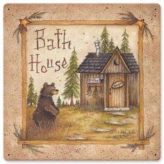 Bath House Bear metal sign, 12 x 12 Cabin Lodge home decor garage art PS by HomeDecorGarageArt on Etsy