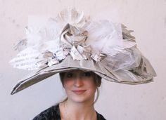 Victorian women's style hat made from newspaper and book pages.