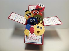 Sesame Street birthday card by - Cards and Paper Crafts at Splitcoaststampers *photo only Card In A Box, Pop Up Box Cards, Card Boxes, Kids Cards, Baby Cards, Pretty Things, Kids Birthday Cards, Card Birthday, Exploding Box Card