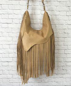 Sac Boho en cuir à franges / franges cuir Hobo Bag / Sac besace en cuir sac / frange Boho bandoulière en cuir sac à main cuir rustique / rustique sac à main
