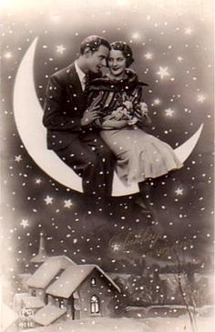 Vintage Paper Moon Postcard - THE EPHEMERA / It would be fun to have a paper moon for photos at a ball Vintage Moon, Vintage Paper, Sun Moon, Stars And Moon, Moon Shine, Lasso The Moon, Retro, Shoot The Moon, Moon Photos