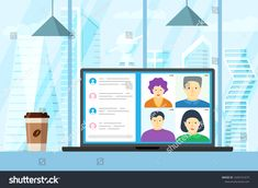 People group on laptop screen taking part in online conference. Virtual work meeting and distance education webinar or videoconferencing. Video conferencing and web communication vector illustration Web Communication, Work Meeting, Find People, Vector Stock, Distance, Conference, Royalty Free Stock Photos, Laptop, Group