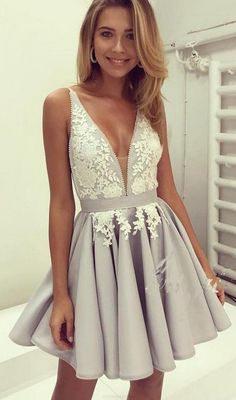 Prom Dresses 2017, Cheap Prom Dresses, Short Prom Dresses, Prom Dresses Cheap, 2017 Prom Dresses, Homecoming Dresses Short, Short Homecoming Dresses Cheap, Short Prom Dresses Cheap, Homecoming Dresses 2017, Cheap Homecoming Dresses, Short Mini Prom Dresses, Silver Short Mini Prom Dresses, Mini Short Prom Dresses, Mini Prom Dresses, Short Homecoming Dresses, 2017 Homecoming Dress V-neck Silver Appliques Short Prom Dress Party Dress
