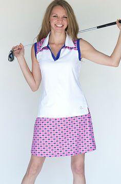 Round Robin GolfHER Ladies & Plus Size White & Pink/Blue Golf Outfit (Shirt & Skort) at #lorisgolfshoppe