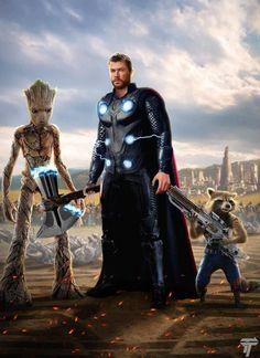 Thor Rocket and Groot by on DeviantArt Marvel Dc Comics, Marvel Avengers, Marvel Heroes, Captain Marvel, Marvel Characters, Marvel Movies, Final Fantasy, Best Superhero, Rocket Raccoon