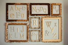 Alphabet Letters separated by frames- love this idea for a nursery