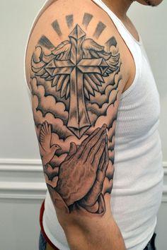 Tattoo, half sleeve tattoos for guys, cool arm tattoos, badass tattoos, c. Half Arm Sleeve Tattoo, Half Sleeve Tattoos For Guys, Shoulder Tattoo, Cloud Tattoo Sleeve, Wrist Tattoo, Tattoos Arm Mann, Hand Tattoos, Body Art Tattoos, Trendy Tattoos
