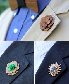 wooden flower boutonniere