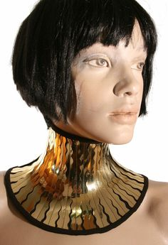 Gold cleopatra neck corset armor necklace gothic choker by divamp