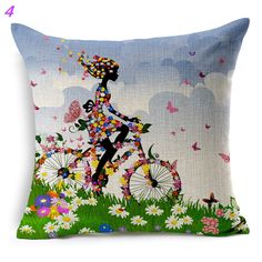 Maiyubo Ethnic Cushion Nordic Style Home African Bicycle Cushions Floral Women Linen Cushion Decorative Pillow for Sofa PC329