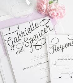Unique Purple Wedding Invitations with Fun Script Font!  Love the swirls and the way it goes off the edge.