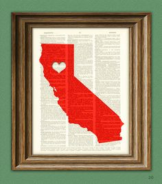 My Heart is in California state map awesome by collageOrama, $6.99