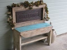 Bench made from sign and old bench