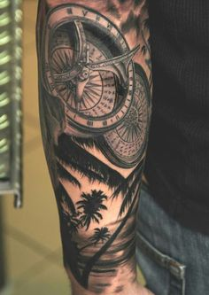 Compass tattoo by Andy Engel