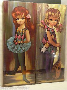 2 Vtg Eden Lrg Big Eye Harlequin Moppet Child Ballerina Mandolin Keane Eames NIP