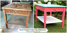 Table Makeover with Mod Podge and Wrapping Paper - Rain on a Tin Roof via @Jenna Nelson @ Rain on a Tin Roof