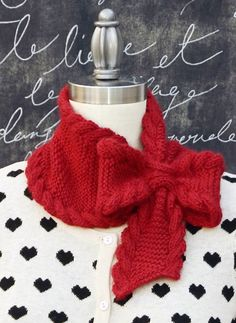 Knitting pattern for Bow Tie Ascot - #ad keyhole scarf with a pull-through that forms a bow. Two sizes. tba