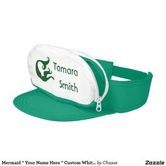 "Mermaid "" Your Name Here "" Custom White And Green Visor"