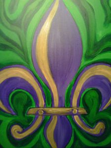 What better way to pay homage to the time honored festival of Mardi Gras than with this painting which features a classic fleur de lis in the traditional colors of Mardi Gras! Saints, Mardi Gras Decorations, Acrylic Painting For Beginners, Paint And Sip, Mural Art, Chalk Art, Paint Party, Painting Inspiration, Small Tattoos