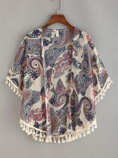 Paisley+Print+Tassel+Trimmed+Kimono+12.99