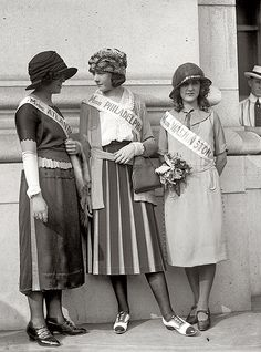 1921. Ethel Charles, Nellie Orr and Margaret Gorman at Union Station in Washington, D.C. Margaret would be crowned winner at the very first Miss America pageant.
