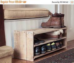 VENTE étagère à chaussures en bois - meuble palette à la main