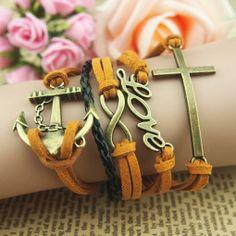 Handmade Cham Bracelet,Infinity Love Bracelet,Anchor Bracelet,Cross Bracelet,Antique Bronze Bracelet,Adjustable Bracelet,Wrap Bracelet-Gift