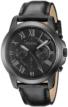 Fossil Mens FS4812 Grant Chronograph Black Dial Black Leather Watch
