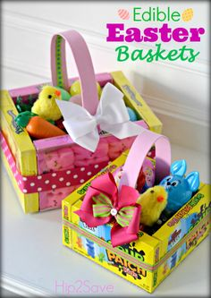 Candy easter baskets easter pinterest easter baskets easter perfect for class gifts or for teacher these edible easter baskets made from candy boxes are a cinch to make kidfolio the app for parents kidfol negle Image collections