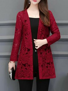 Elegant Lace Long Sleeve Cardigans - Outfits for Work Girls Dresses Sewing, Stylish Dresses For Girls, Stylish Dress Designs, Simple Dresses, Casual Dresses, Simple Pakistani Dresses, Pakistani Dress Design, Frock Fashion, Women's Fashion Dresses