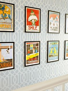Hanging Wallpaper in Just a Hallway  Wallpaper can be pricey. If you find one you love (like Gretchen did with this trellis design by Kelly Wearstler) but don't want to spend a fortune papering a whole room, relegate the pretty pattern to a stair landing or a hallway. These fun prints, from a 1930s elementary school textbook, are a flea market find.
