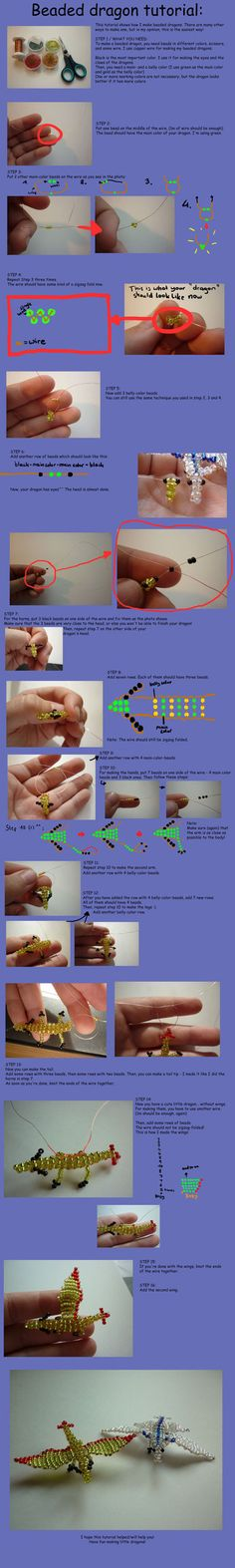 Beaded dragon tutorial by =NicosFriend on deviantART