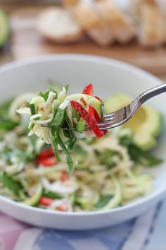 Apple Spinach Zucchini Salad_vertical_bite | HipFoodieMom.com