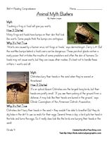 Fourth Grade Reading Comprehension Worksheet - Animal Myth Busters - Have Fun Teaching