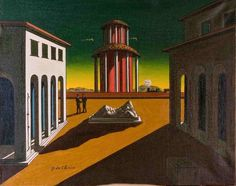 Giorgio de Chirico: Piazza d'Italia - 1955 You can see space from the sculpture in the middle ground of the painting and the red biding in the back ground of the painting.