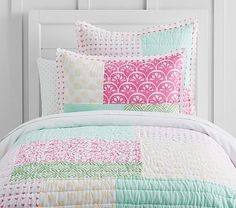 Mila Patchwork Quilted Bedding #pbkids