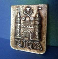 Old Vintage USSR Soviet Latvia RIGA City pin badge Collectibles Castle marked