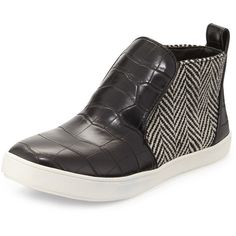 Circus by Sam Edelman Jadyn Croc-Embossed High-Top Sneaker ($39) ❤ liked on Polyvore featuring shoes, sneakers, croco blac, high top trainers, high top heel sneakers, black and white high heel shoes, slip on sneakers e high top shoes
