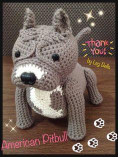 Amigurumi American Pitbull by request.. ^^ www.facebook.com/LeyBells Crochet Crafts, Yarn Crafts, Crochet Toys, Crochet Baby, Crochet Projects, Knit Crochet, American Pitbull, Crochet Amigurumi Free Patterns, Dog Pattern