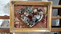 Shabby chic jewelry Heart in a golden frame, small delicate gift idea.