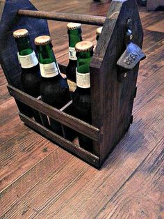 Solid Wood Beer Case with Bottle Opener by 1Downtoearthdesign