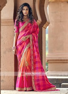 Online Shopping of Traditional Weaving Work Orange Sangeet Wear Designer Half N Half Saree In Art Silk from SareesBazaar, leading online ethnic clothing store offering latest collection of sarees, salwar suits, lehengas & kurtis Art Silk Sarees, Banarasi Sarees, Lehenga Choli, Beau Sari, Indiana, Half And Half, Neck Deep, Designer Sarees Online, Half Saree