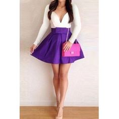 Long Sleeves Patchwork Bow-tie Decorated Purple Polyester Mini Dress