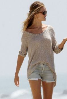 Sweater and cutoffs! Love this look comfy and cool