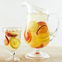 Sweet Honey White Sangria...1/4  cupbrandy    1/4  cuporange liqueur    1/2  cuphoney    1   1-inch piecefresh ginger, thinly sliced (optional)    2   small oranges, lemons and/or limes, thinly sliced and seeded    2   nectarines, thinly sliced     2   750 milliliterbottlesSpanish Cava sparkling wine, chilled    1   1 literbottlecarbonated water, chilled      Ice (optional)