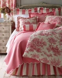 Create this gorgeous French toile bedding for a fraction of the cost with Gaiety Toile: http://fabricseen.com/product/gaiety-pink-toile-upholstery-fabric/ Enter code SPLASH15 for an extra 15% off at checkout for the month of August