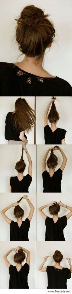 Casual Messy Hair Bun | Step By Step Hair Updo by Makeup Tutorials at http://makeuptutorials.com/14-stunning-easy-diy-hairstyles-long-hair-hairstyle-tutorials/